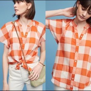 Anthropologie Maeve Gingham Top Size Small